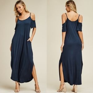RILEY Cold Shoulder Maxi Dress - SLATE BLUE